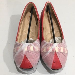 Red faux ostrich ballet flats by Victoria K, S 6.5
